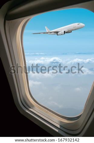 view through airplane the window - stock photo
