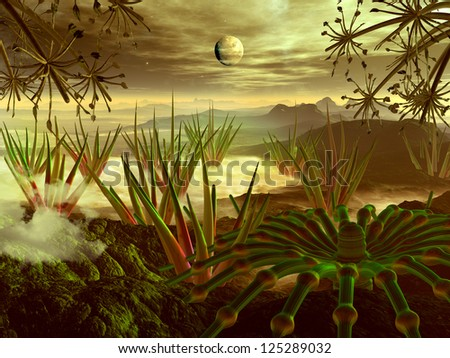 View through alien plant life to mountains on mysterious, tropical,  jungle world.