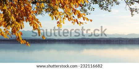 view through autumnal leaves -starnberg lake and zugspitze mountains - stock photo