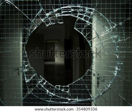 View through broken Window  - stock photo