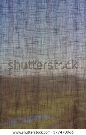 VIEW THROUGH NET CURTAIN OF LUXURY BOUTIQUE HOTEL WINDOW OVER MEDETARANIAN GOLF COURSE - stock photo