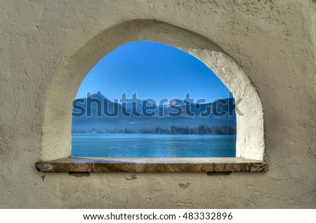 "View through the arch towards lake and mountains, Alps / Lake Wolfgang, Austria / ""Wolfgangsee"""