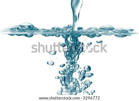 View through the fresh water splash bubbles - stock photo