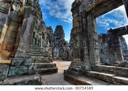 view through the labyrinth of bayon temple -angkor wat - siem reap - cambodia (HRD) - stock photo