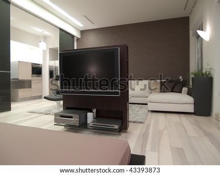 view to a lcd tv from bed - stock photo
