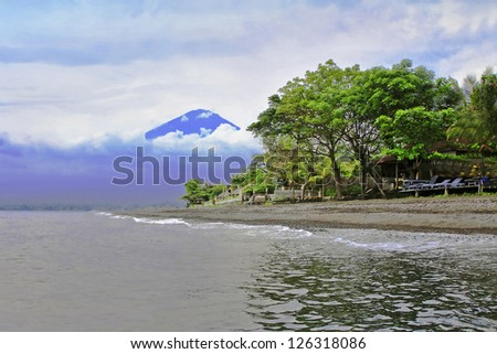 View to Agung volcano from Amed, Bali - stock photo