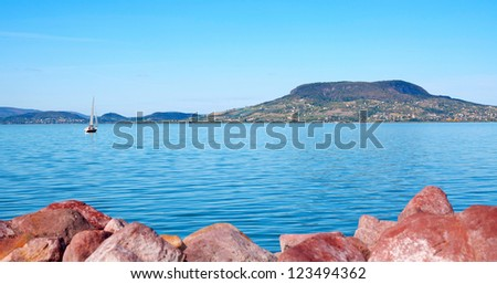 View to Badacsony at Lake Balaton,Hungary - stock photo