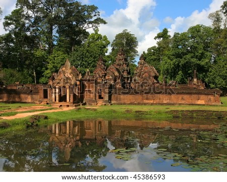 View to Banteay Srei Temple in the Angkor. Siem Reap, Cambodia. - stock photo