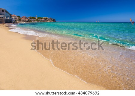 View to beautiful Algaloja old town and sandy beach with turquoise clear water, France, Europe.