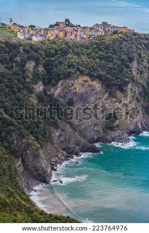 View to Corniglia - one of the villages in Cinque Terre, Italy - stock photo