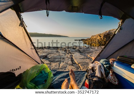 View to Croatia from the tent. Hiking and Tourism - stock photo