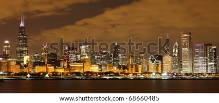 View to Downtown Chicago / USA from Adler Planetarium - stock photo