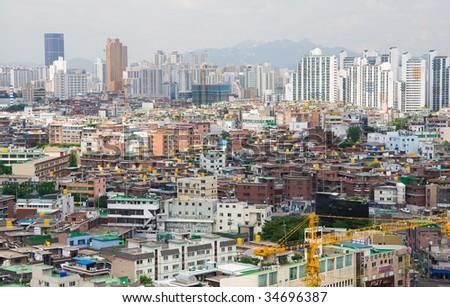 View to downtown of Seoul and mountain. South Korea - stock photo