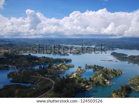 View to Guatap�© from Piedra el Pe�±ol, near Medellin, Colombia. - stock photo