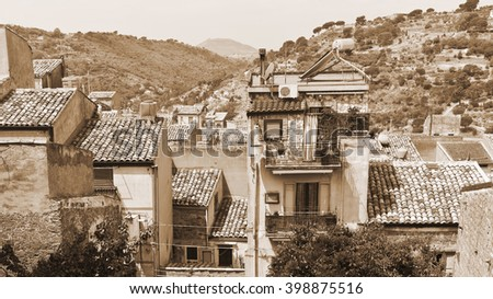 View to Historic Center City of Piazza Armerina in Sicily, Vintage Style Sepia  - stock photo