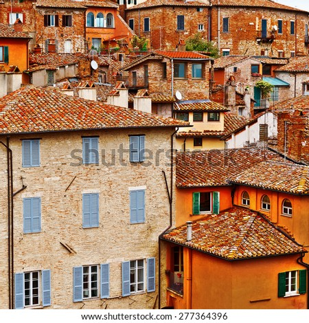 View to Historic Center of the City of Perugia in Italy - stock photo