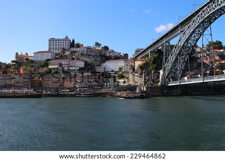 View to historical part of Porto with Luis I. bridge, Portugal - stock photo