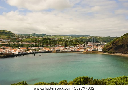 View to Horta with bay, Faial island, Azores