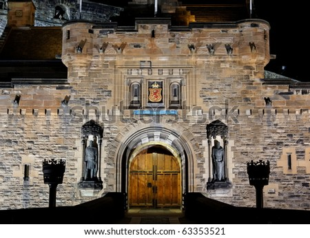 View to illuminated Castle at night. Edinburgh. Scotland. UK. - stock photo
