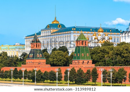 View to Kremlin and Kremlin Wall in summer morning. Moscow. Russia - stock photo