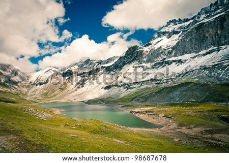 View to lake in the Swiss Alps, Glattalp