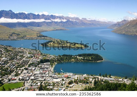 View to lake Wakatipu and Queenstown, New Zealand - stock photo