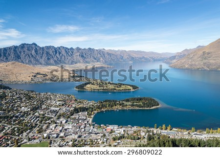 View to lake Wakatipu and Queenstown, Otago, New Zealand - stock photo