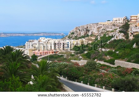 View to Melliha village and famous bay on Malta island - stock photo