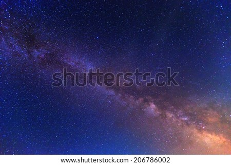 View to Milky Way Galaxy on nigh sky  - stock photo