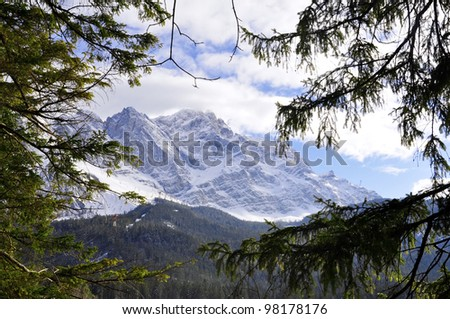 View to Mount Zugspitze, Germany's highest Mountain - stock photo