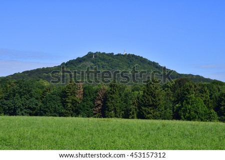 View to Mountain Landeskrone in saxon.  - stock photo