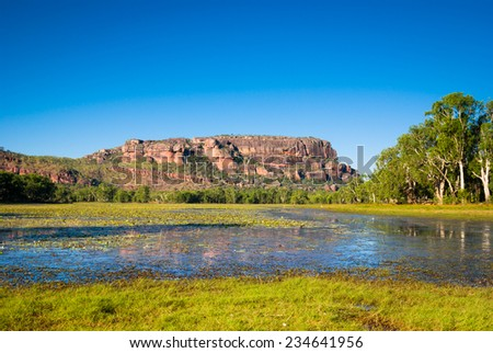 View to Nourlangie from Anbangbang Billabong, Kakadu National Park, Australia - stock photo
