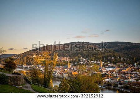 view to old town of Heidelberg, Germany. - stock photo