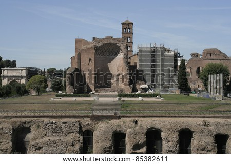 View to Remains of Basilica of Maxentius and Constantine, Forum Romanum, from the Colosseum, Roma, Italy