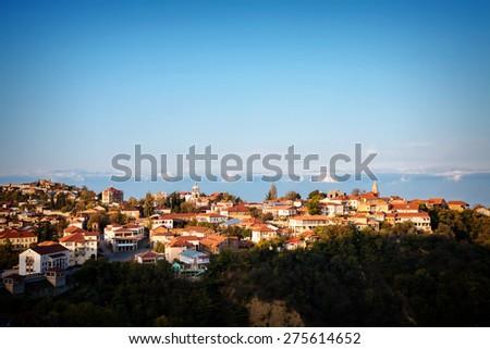View to Signagi old town in Kakheti region, Georgia - stock photo