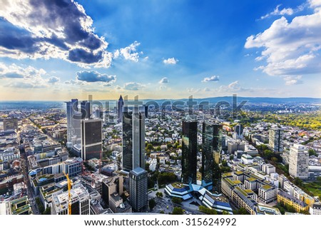 view to skyline of Frankfurt from Maintower in Frankfurt, Germany - stock photo