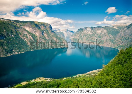 View to Sognefjord in Norway - stock photo