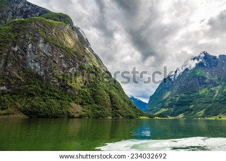 View to Sognefjord in Norway. Country landscape