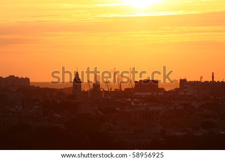 View to St.-Petersburg during a sunset