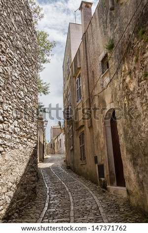 View to street of Erice (province of Trapani in Sicily, Italy)