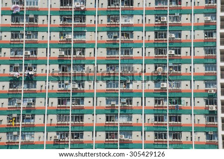 View to the apartment building in Hong Kong, China.