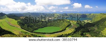 View to the Caldeira of Sete Cidades from the viewpoint near Lgoa de Canario (Sao Miguel, Azores) - stock photo