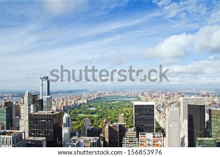 view to the Central park, New York - stock photo