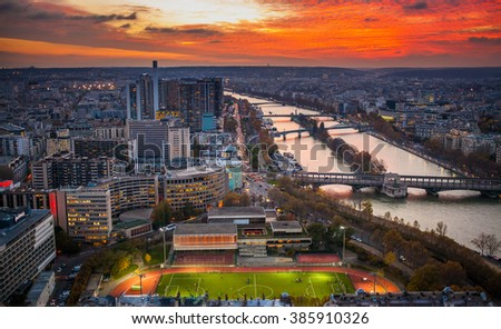 View to the city and Seine River from the Eiffel Tower, Paris, France - stock photo