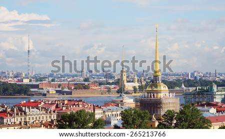 View to the cityscape of Saint-Petersburg, Russia. View from above - stock photo