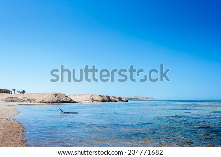 View To The Coastline Of Red Sea From Coral Reef. Beach at a luxury typical unrecognizable 5 star hotel in Egypt, Africa. Holiday resort in Egypt. sharm el sheikh. hurgada. - stock photo