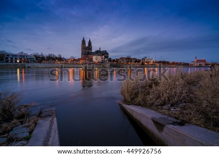 view to the dome of Magdeburg at dusk, Germany