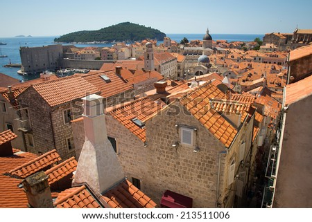 View to the Dubrovnik old town, Croatia.