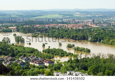 View to the Elbe valley during inundation 2013, Elbe 840cm high - stock photo