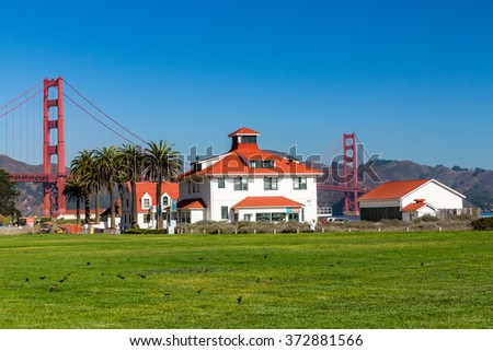 View to the Golden Gate Bridge from Crissy Field Park, San Francisco - stock photo